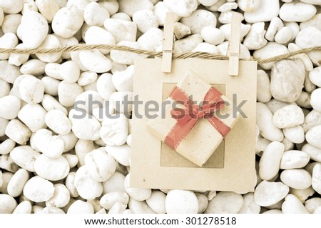 gift box with vintage style - stock photo