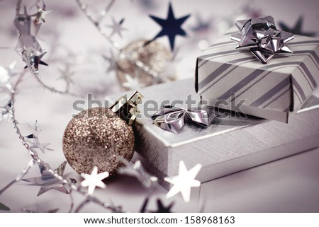 Gift boxes and christmas balls