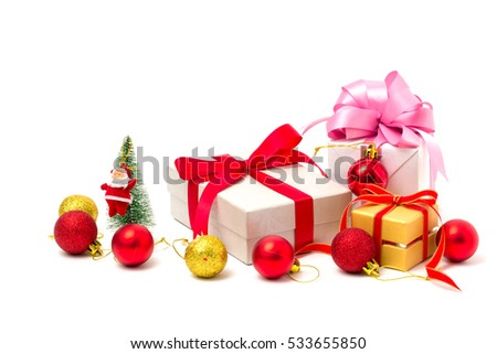 Gift boxes and christmas balls,Isolated on white background