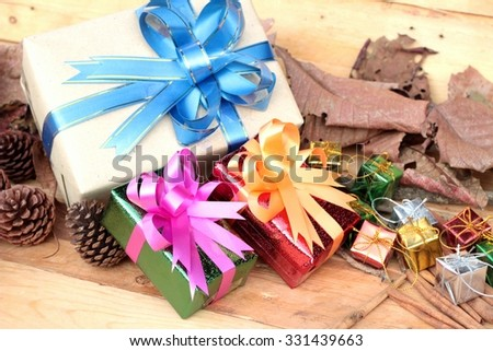 Gift boxes and decorated to celebrate Christmas