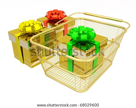 Gift boxes and shopping basket on white background.