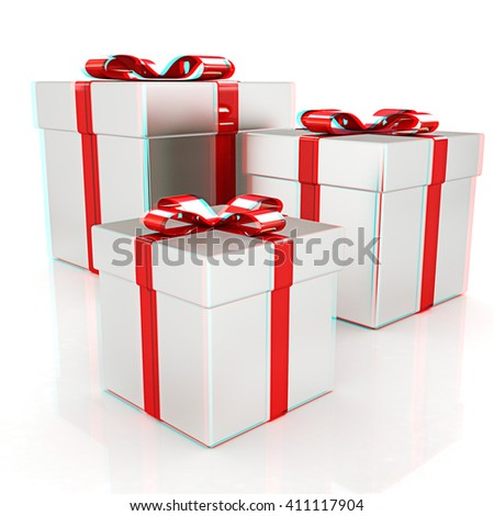 gift boxes. 3D illustration. Anaglyph. View with red/cyan glasses to see in 3D.