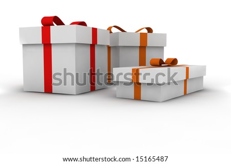 gift boxes - 3d isolated illustration - stock photo