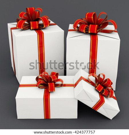 Gift Boxes. 3D Rendering