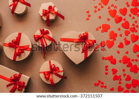 Gift boxes handmade holiday on kraft paper. Valentine's day.