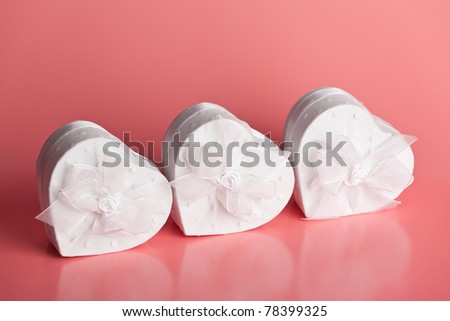 Gift boxes in the shape of hearts - stock photo