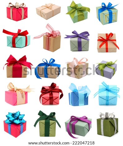 Gift boxes isolated, holiday presents - stock photo