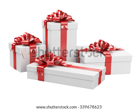 Gift boxes isolated on a white background