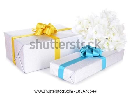 Gift boxes isolated on white - stock photo