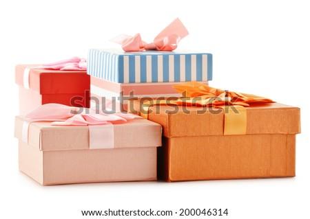 Gift boxes isolated on white background. - stock photo