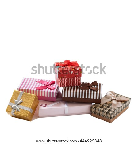 Gift boxes isolated on white background. Wedding invitation, greeting card for Mother's Day. Beautiful birthday invitation. Selective focus. - stock photo
