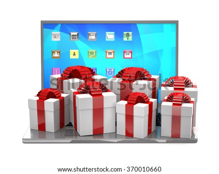 Gift boxes on a laptop keyboard as concept of internet shopping. - stock photo