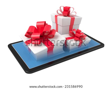 Gift boxes on a tablet pc. Virtual gift concept illustration. - stock photo