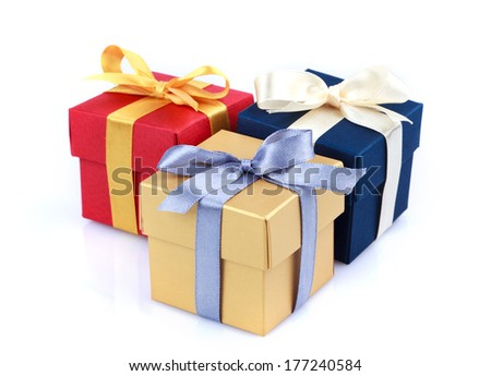 gift boxes on a white background - stock photo