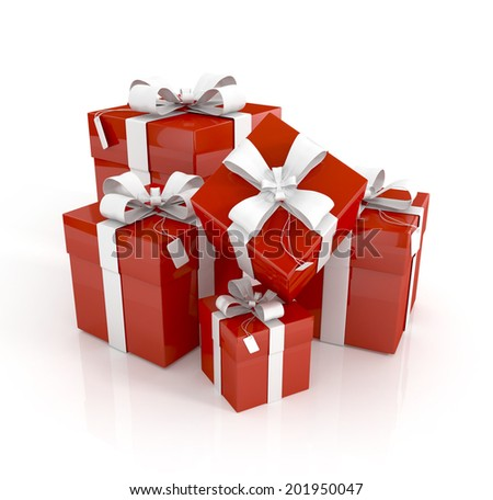 gift boxes on white background 3d illustration