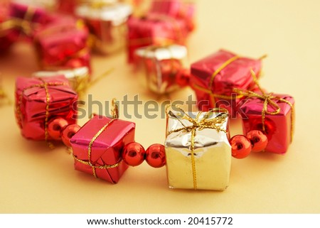gift boxes on yellow background