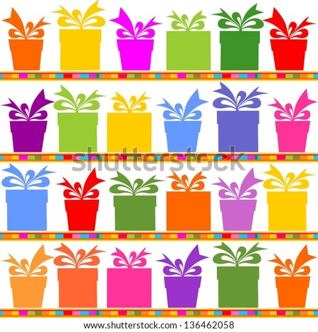 Gift boxes seamless pattern. Illustration - stock photo
