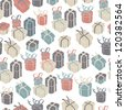 Gift boxes seamless pattern. Raster version, vector file available in portfolio. - stock photo
