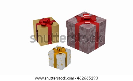 Gift boxes, three wrapped packages, presents isolated on white background, 3D illustration