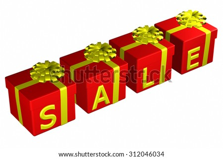 Gift boxes tied ribbon with a bow with word sale , isolated on white background. 3D render. - stock photo