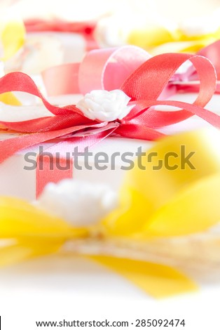 Gift boxes with a bow - stock photo