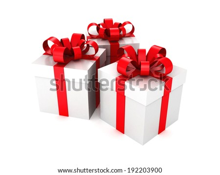 gift boxes with a ribbon on white background. 3d render illustration