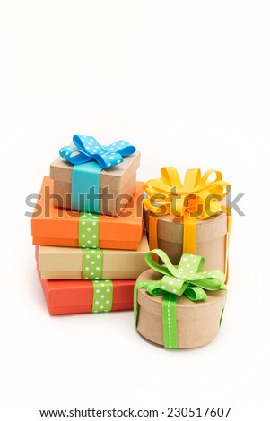 Gift boxes with beautiful ribbons