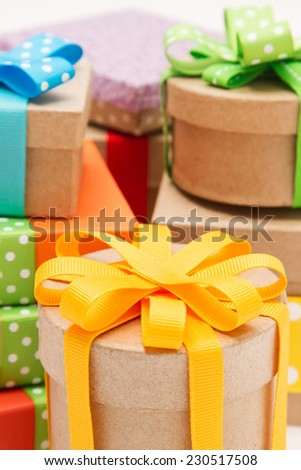 Gift boxes with beautiful ribbons on white background