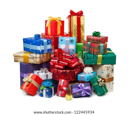 Gift boxes with bow and ribbon on white background - stock photo
