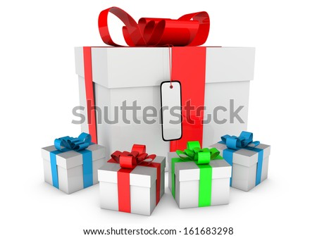 gift boxes with colored loops