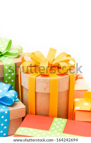 Gift boxes with colorful ribbons - stock photo