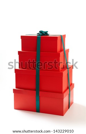 gift boxes with decorative bows on white background.  Group of presents. Gift boxs with origami bows.