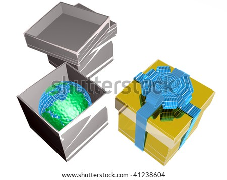 Gift boxes with earth on white background.