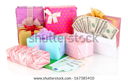 Gift boxes with money isolated on white