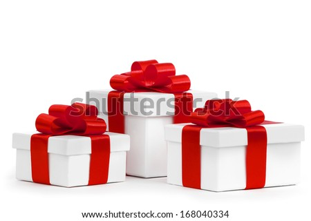 Gift boxes with red bow isolated on white background