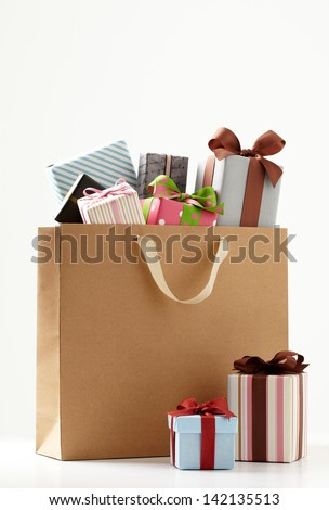 Gift boxes with shopping bag. Group of presents. white background.