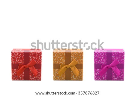 Gift boxs with ribbon bow isolated on white background