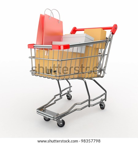 Gift buying. Shopping cart full of boxes. 3d - stock photo