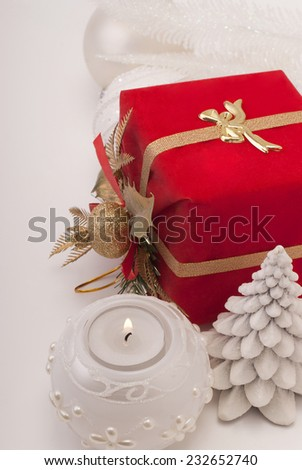 Gift, candle. new-year balls - stock photo