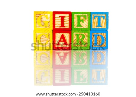gift card colorful word on the white background
