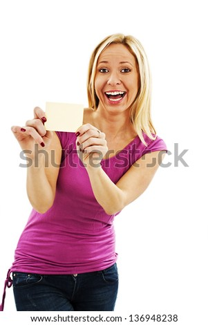 Gift card. Excited woman showing empty blank paper card sign with copy space for text.  Isolated on white background - stock photo