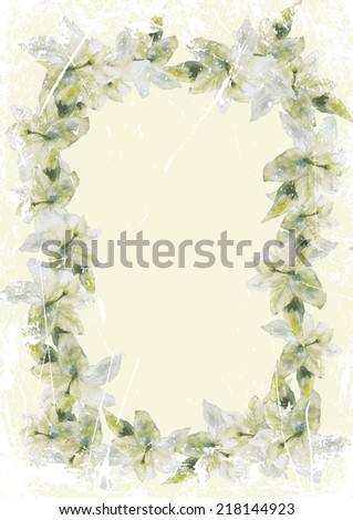 gift card frame of lilies on a light green background
