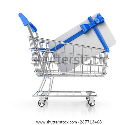 gift card in shopping cart, isolated on white background. 3d render - stock photo