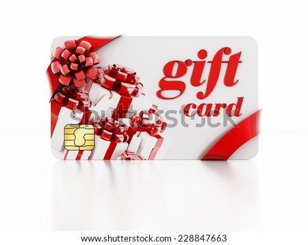 Gift card isolated on white background.