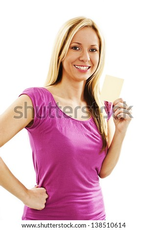Gift card sign woman. Beautiful young female showing empty blank paper note copy space. Isolated on white background - stock photo
