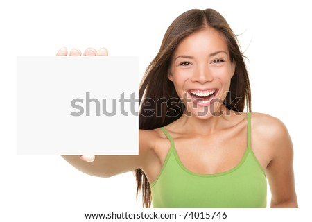 Gift card sign woman. Excited young female showing empty blank paper note copy space. Fresh beautiful multi-ethnic Asian Caucasian female model isolated on white background. Focus on sign AND model - stock photo