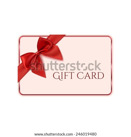 Gift card template with red ribbon and a bow - stock photo