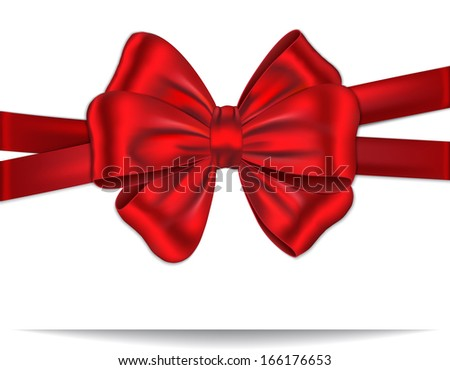 Gift card tied with red ribbon and and luxurious bow