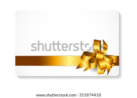 Gift Card with Gold Bow and Ribbon Illustration