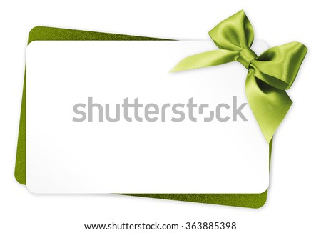 gift card with green ribbon bow Isolated on white background - stock photo